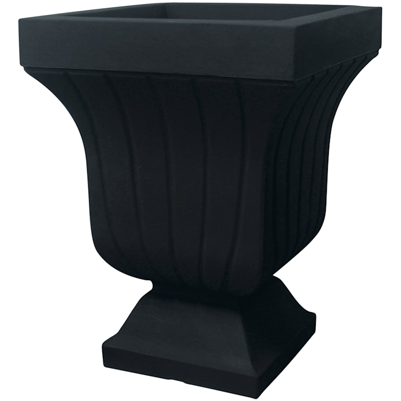 22.4-in Black Square Fluted Urn