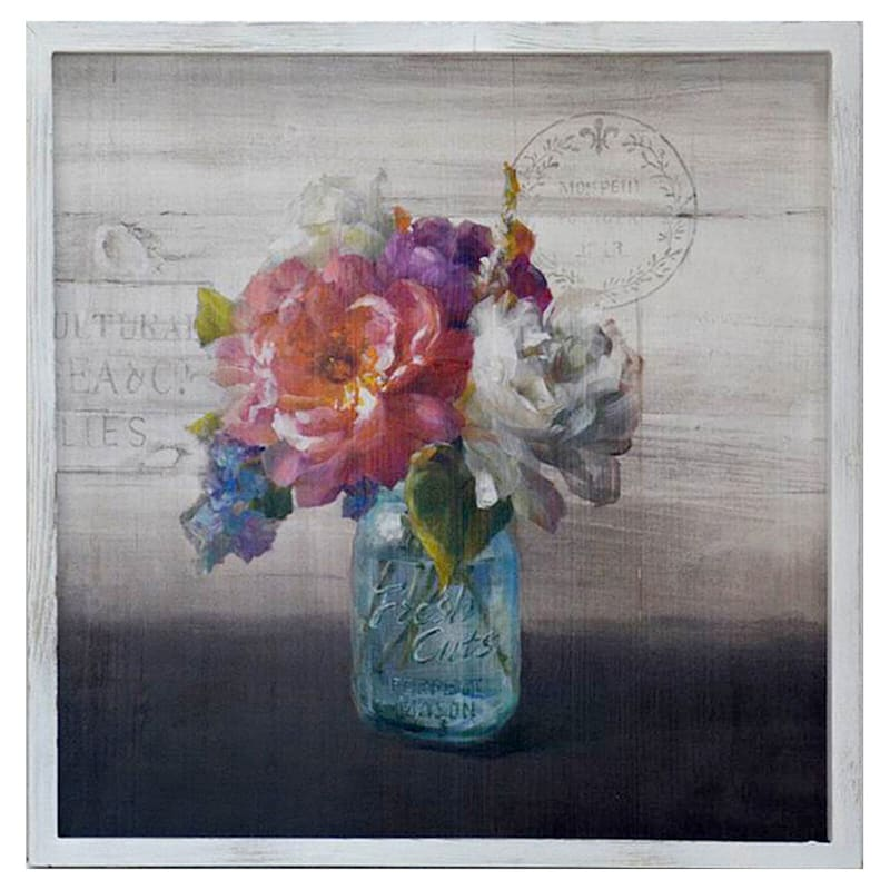 20X20 Flowers In Jar Plaque Wall Art