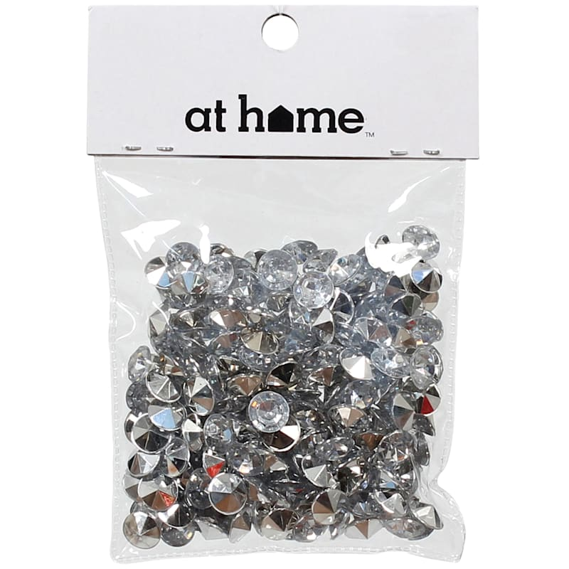 Plastic Silver Gem Scatters 50 Gram In Polybag