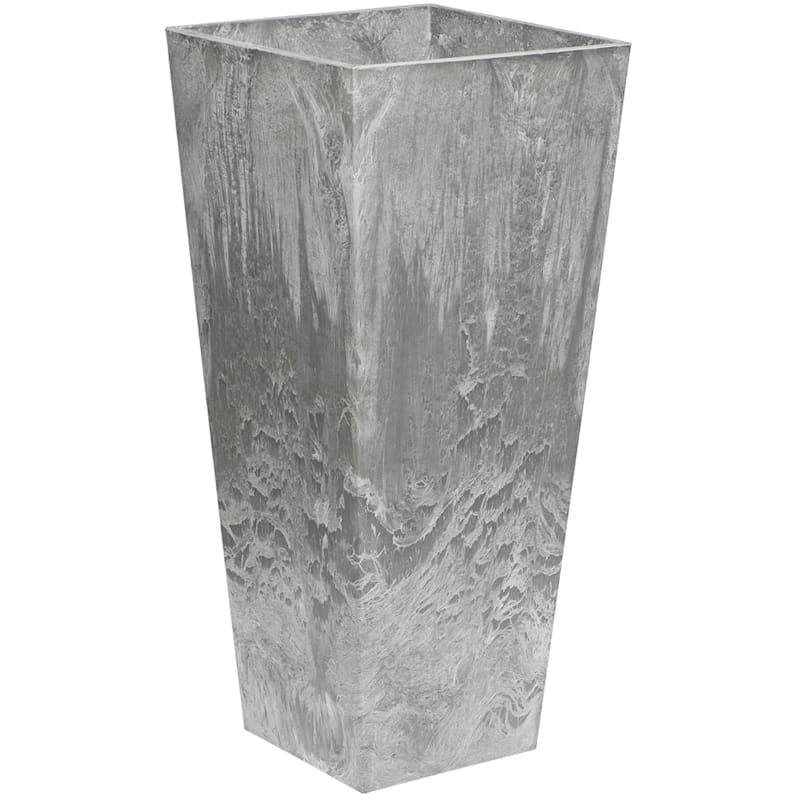 19.5in. Ella Tall Artstone Self Watering Planter Grey