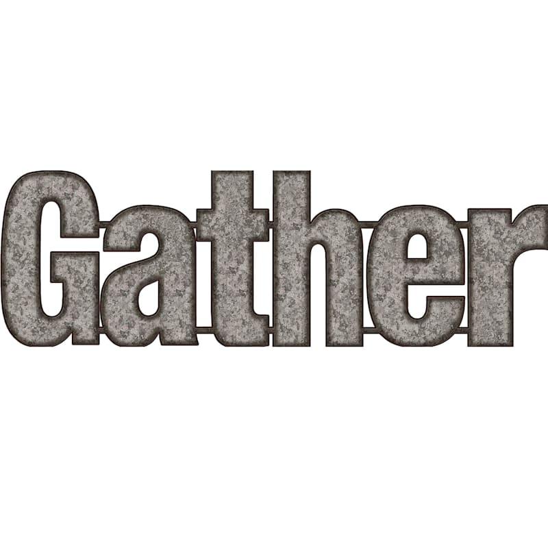 10X31 Gather Galvanized Metal Word Wall Decor