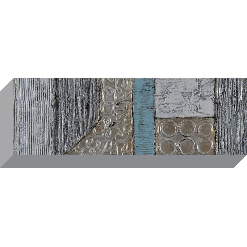 Silver Abstract Canvas Art, 12x36-in.