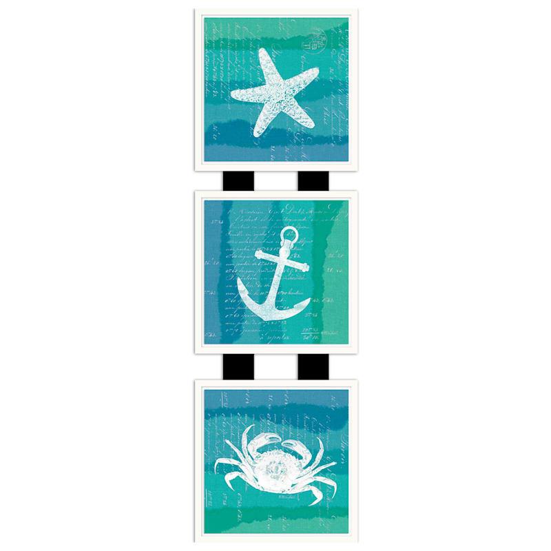 7X23 Ombre Ocean 3Up Framed/Glass Art