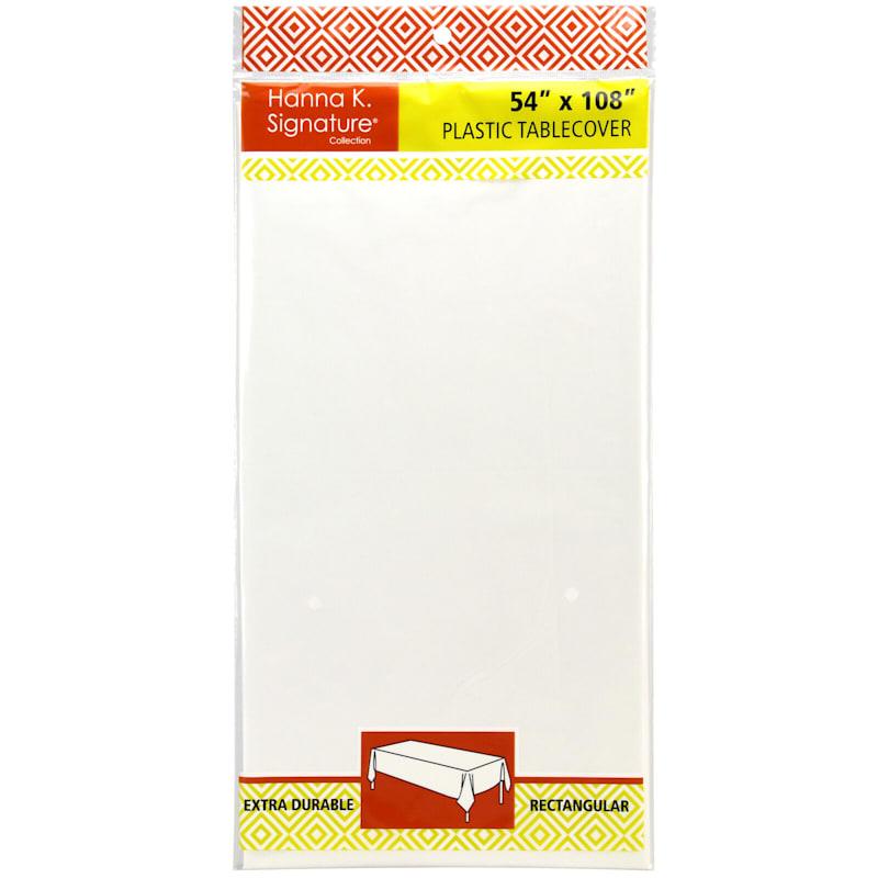 White 54X108 Rectangle Plastic Table Cover Hanna K. Signature