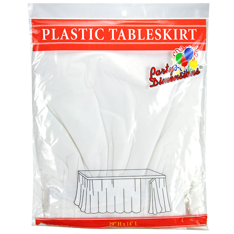 White 29X14 Rectangle Table Skirt Party Dimensions