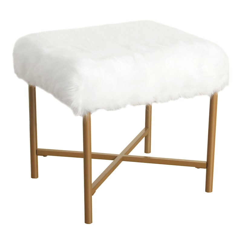 Lindsey Fur Ottoman with Gold Legs