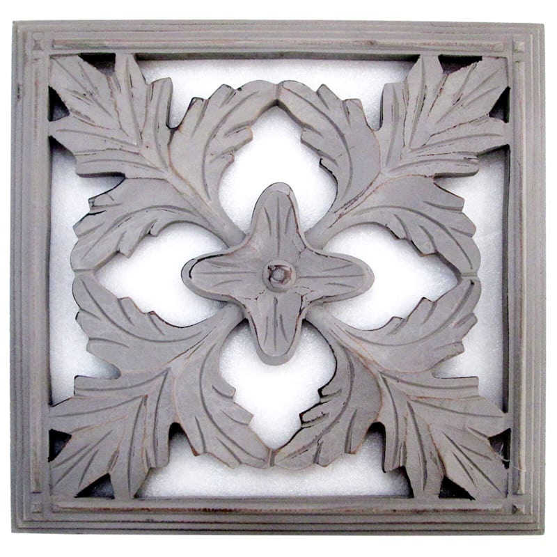 16X16 Grey Hand Carved Square Floral Wood Wall Decor