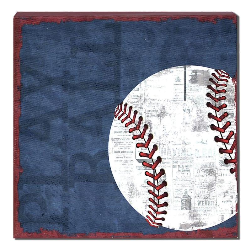 8X8 Blue Baseball Textured Canvas Art
