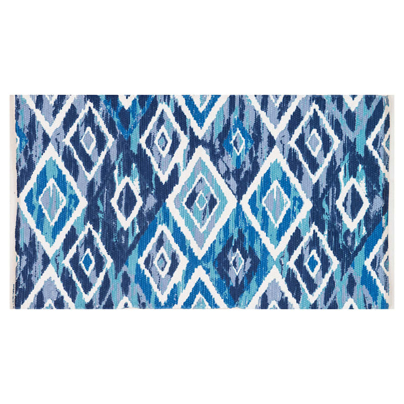 Dekalb Woven Blue Diamond Chindi Accent Rug, 2x4