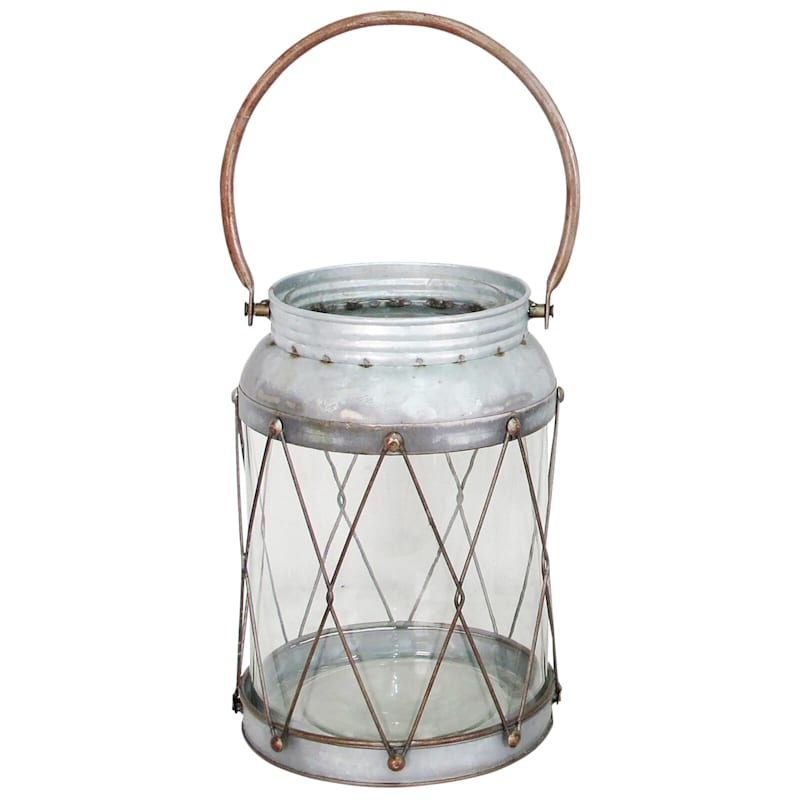 Iron Glass Lantern, 15""
