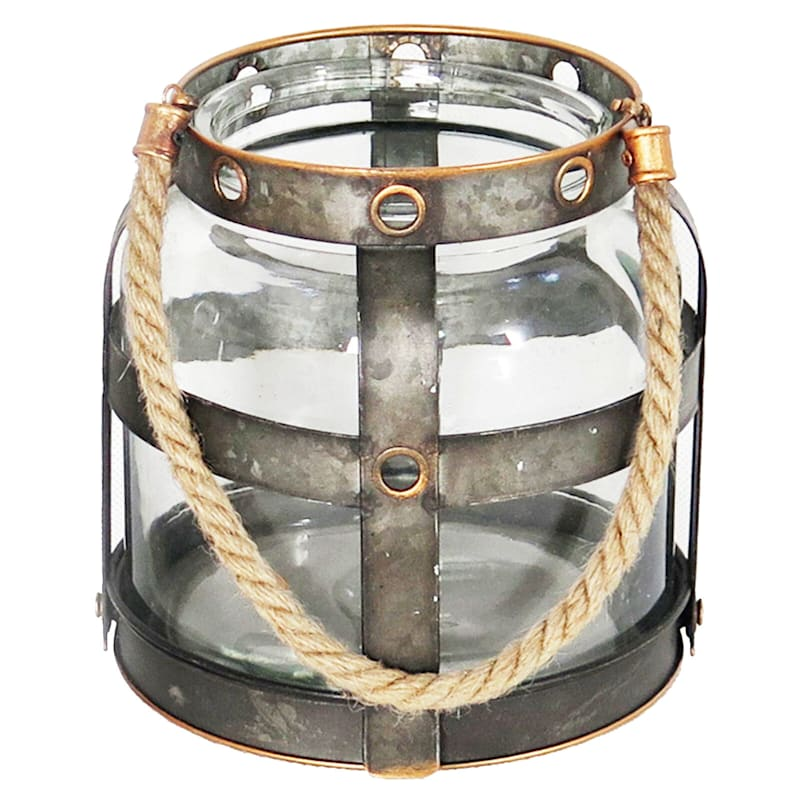 Galvanized Grid Glass Lantern With Rope Handles 7in. High