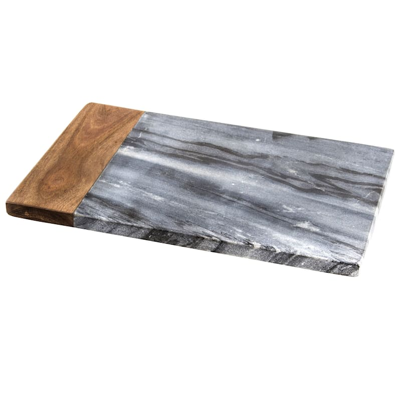 Rectangular Grey Marble/Sheesham Wood Serve Board