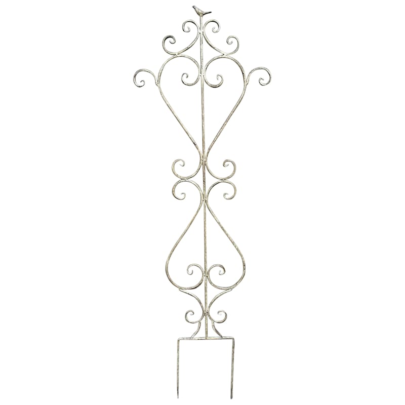 Gray Metal Scroll Bird Trellis, 52""