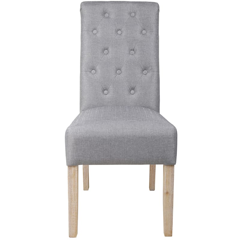 Eva Grey Linen Tufted Back Dining Chair with Reclaimed Wood Legs