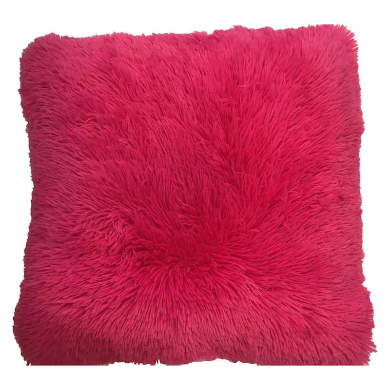 Pink Plush Fur Pillow 20X21