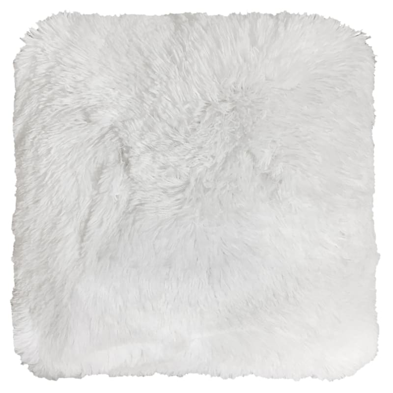 White Plush Fur Pillow 20X22