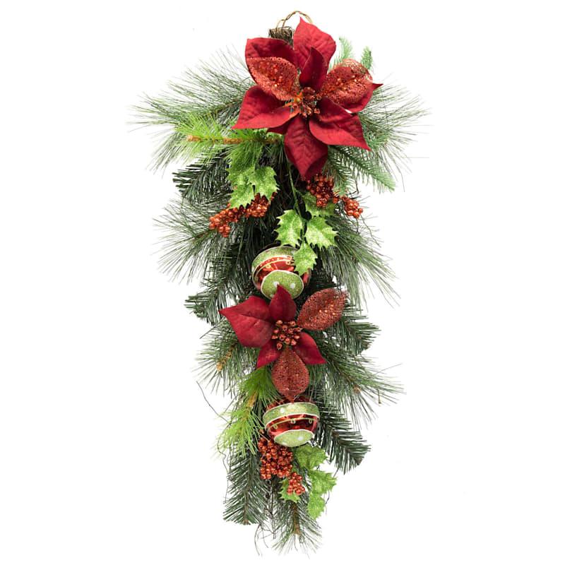 """Red Poinsettias, Glitter Ornaments & Berries Teardrop Wreath, 31"""""""