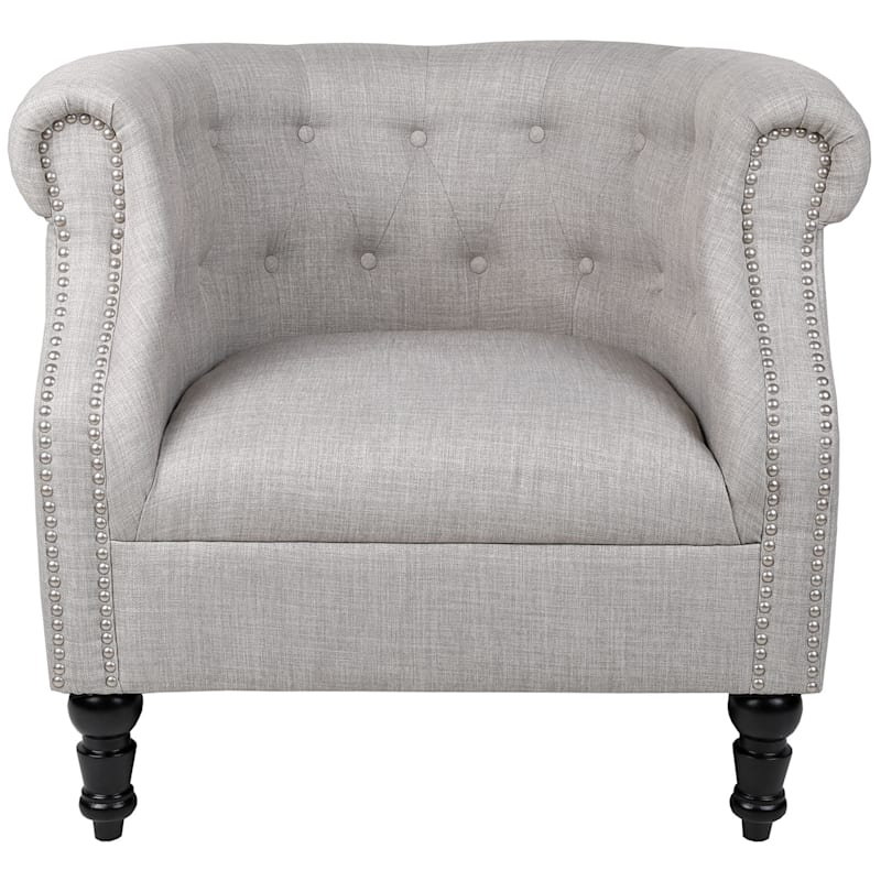 Deluca Ivory Linen Tufted Roll Arm Club Chair