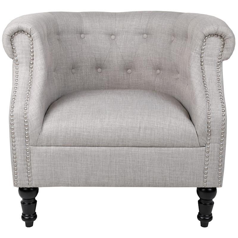 Deluca Rolled-Arm Armchair, Light Grey