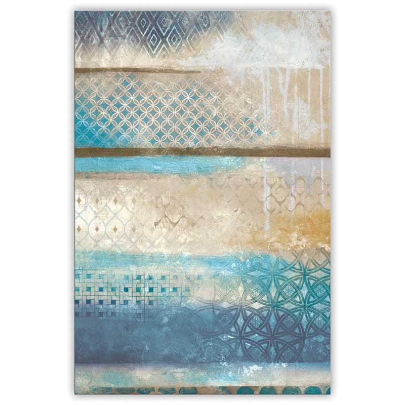 24X36 Blue/Gold Brushed Ornate Canvas Wall Art