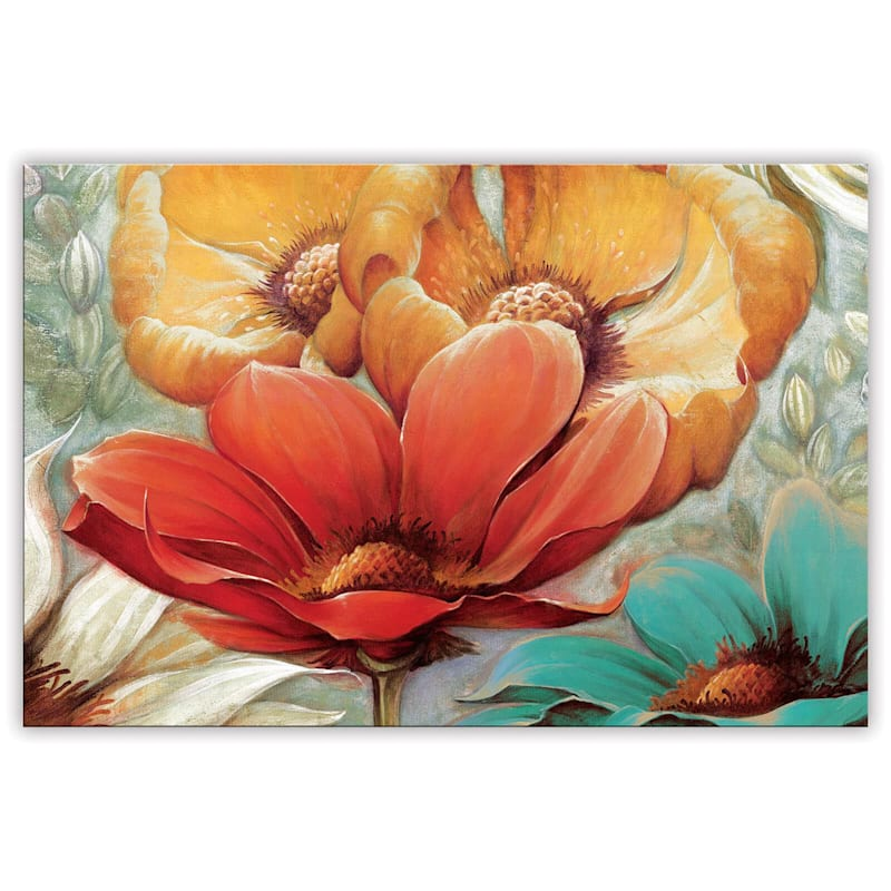 24X36 Red/Gold Floral Canvas Wall Art