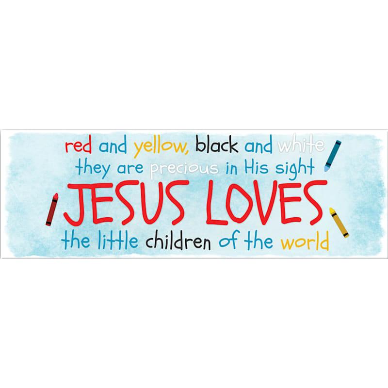 12X36 Jesus Loves The Little Children Canvas Wall Art