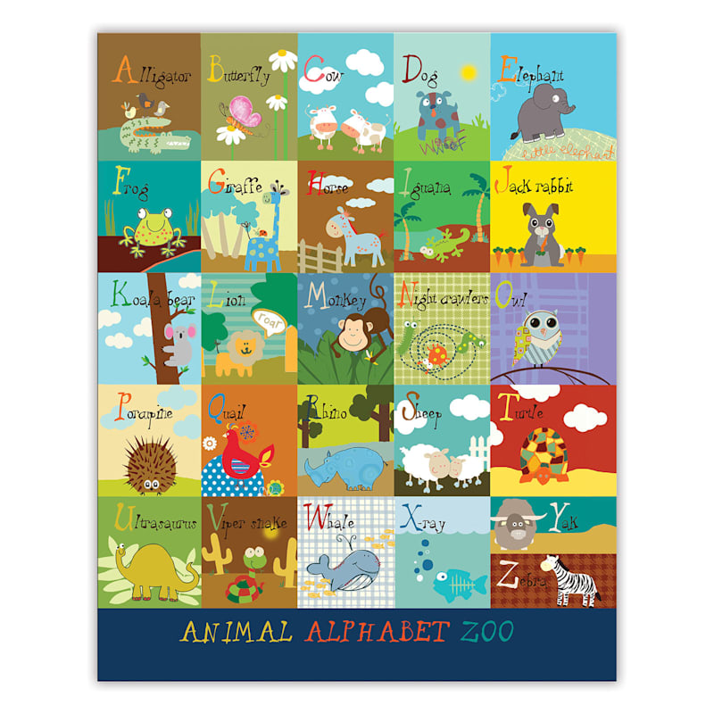 16X20 Animal Alphabet Zoo Canvas Wall Art