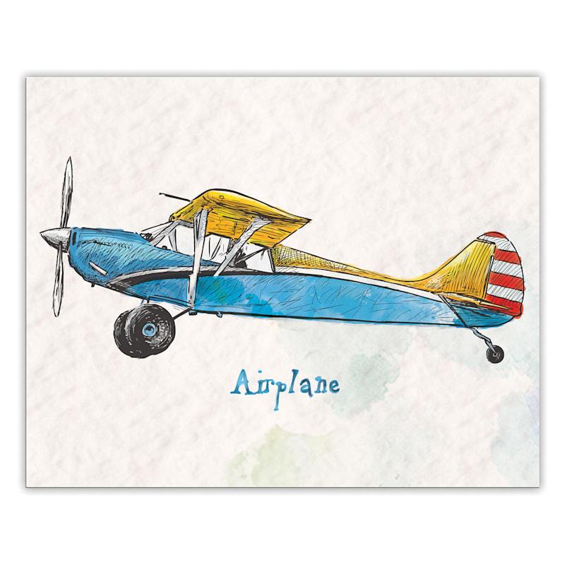 20X16 Blue/Yellow Airplane Canvas Wall Art