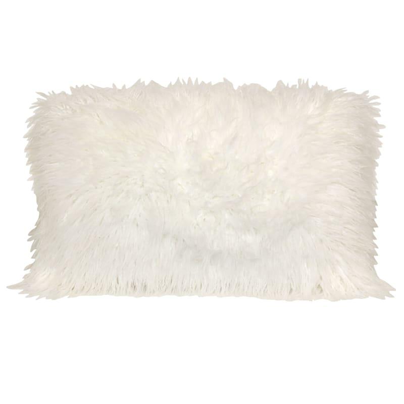 Mongolian White Faux Fur Oblong Pillow 16X24