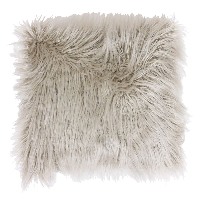 Keller Oatmeal Mongolian Faux Fur Pillow 26in.