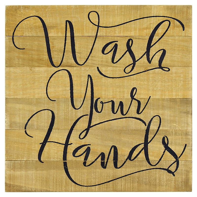 12X12 Wash Your Hands Wood Wall Art