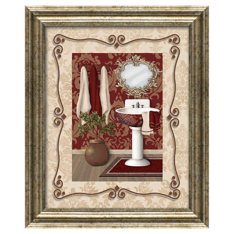 11X14 Maroon Bath And Sink Framed Art