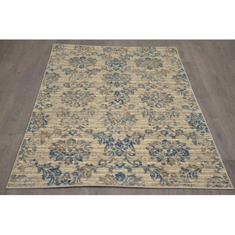 B304 Ivory and Blue Antique Rug- 3x5 ft