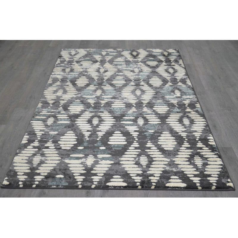 B306 Ivory and Grey Diamond Rug- 7x10 ft