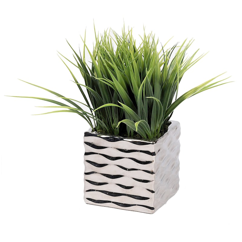 10in. Grass Silver Wave Container