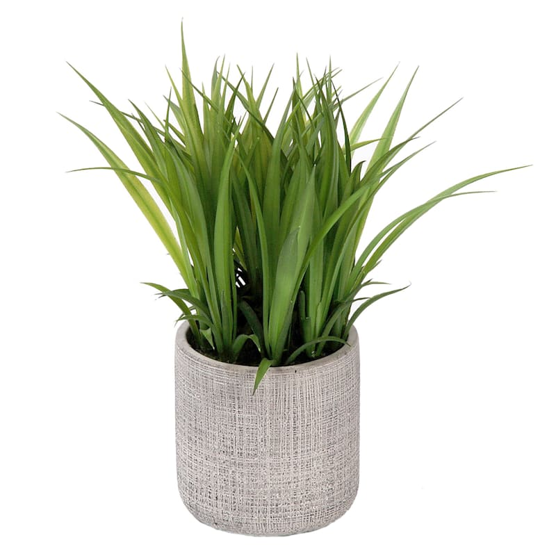 8in. Grass In Grey Container