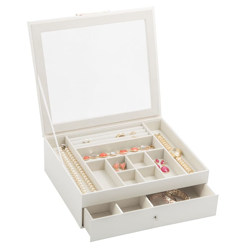 Jewelry Box Clear Lid Drawer White Drawer White