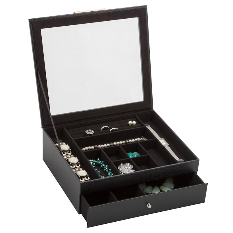 Jewelry Box Clear Lid Drawer Black Drawer White