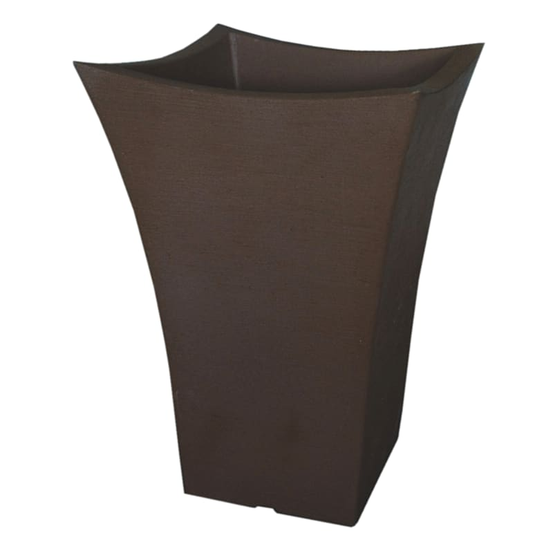 18.9-in Wave Square Top Planter Coffee