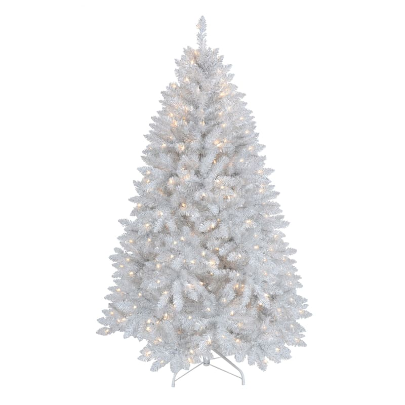 (F16) 5' Pre-Lit White and Silver Christmas Tree with 250 Clear Lights