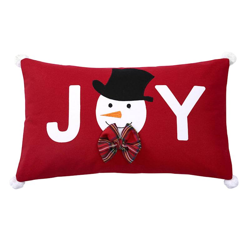 "Red Joy Snowman Throw Pillow, 13"""