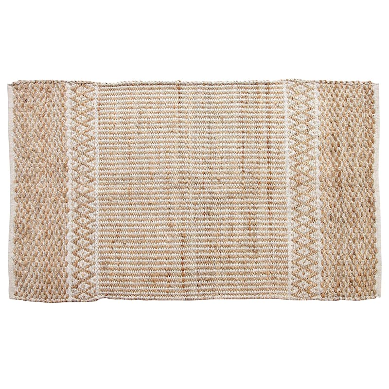 (B310) Natural & White Moroccan Jute Cotton, 5x7