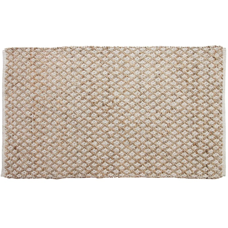 (B311) Natural & White Grid Jute Cotton, 3x5