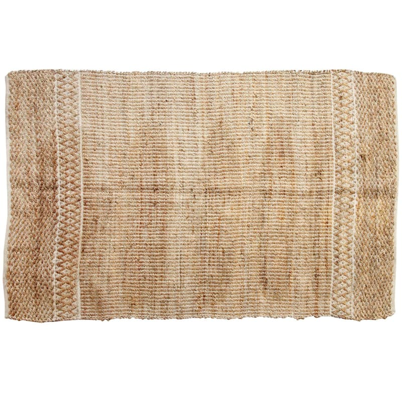 (B311) Natural & White Grid Jute Cotton, 5x7