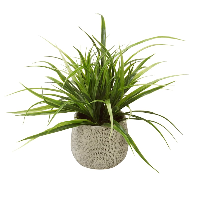 Spiky Grassy Green Fake Potted Plant