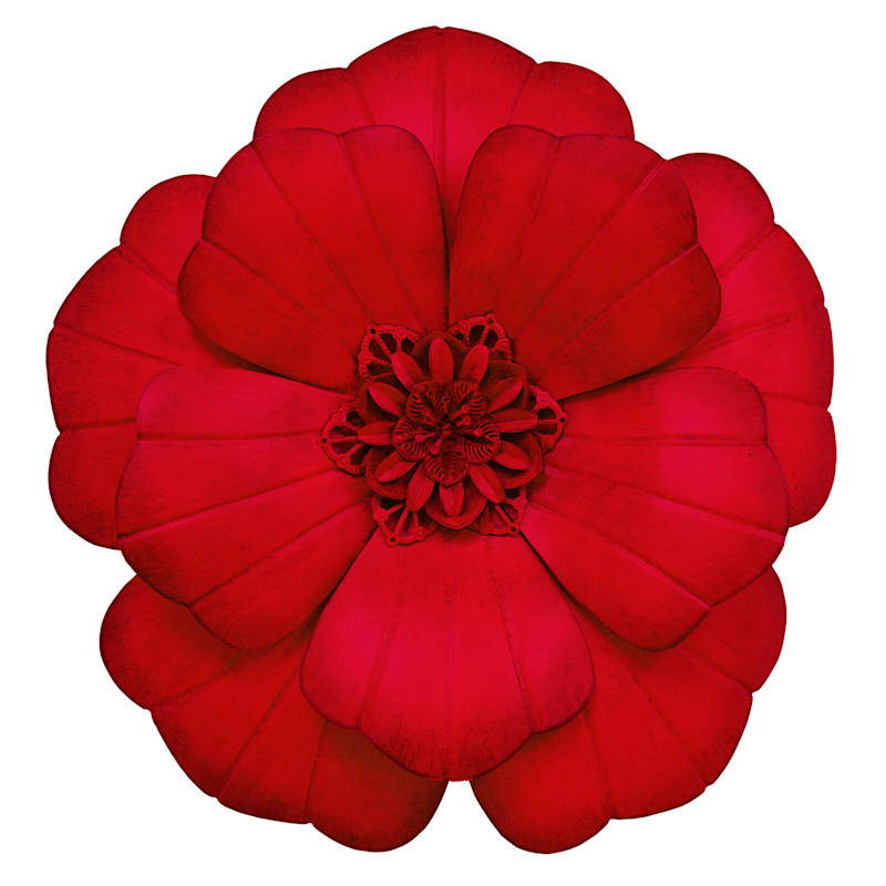 12in. Red Metal Flower