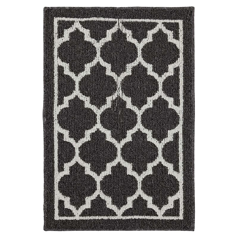 Polyester Quatrefoil Grey and White Rug