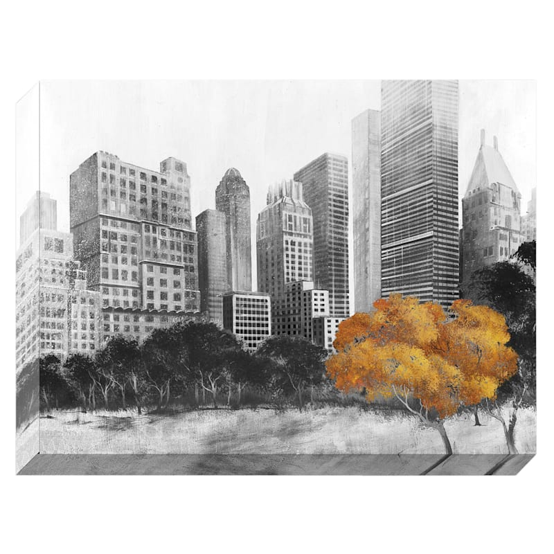 45X60 Cityscape Gold Tree Enhanced Canvas