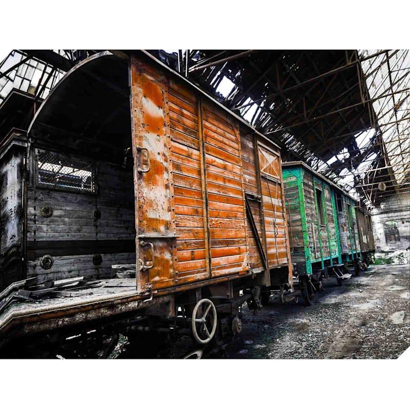Train Yard Multicolor Canvas Art