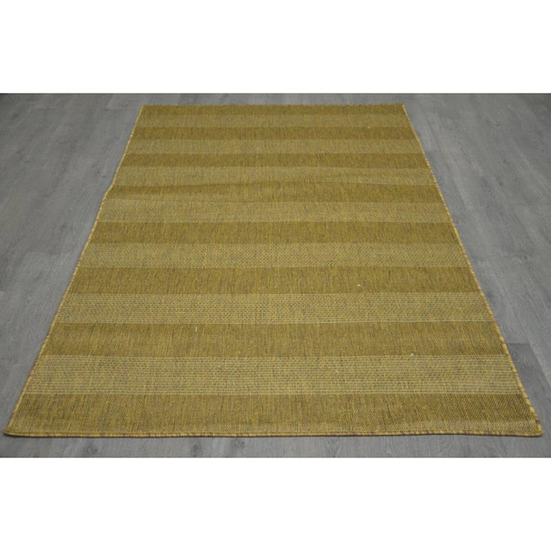 B321 Brown Natural Striped Rug- 8x10 ft